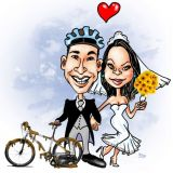 Convites de casamento com Caricaturas