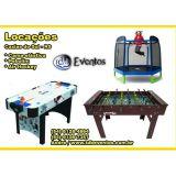 Locação mesa de Pebolim, Air Hokey e cama elástica