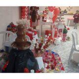 Mesa com 100 espeto de frutas + cascata de chocola