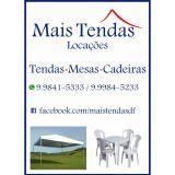 Locação de tendas, mesas e cadeiras