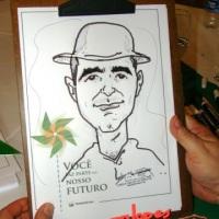 Festa empresarial com o Caricaturista Marcelo Lopes de Lopes