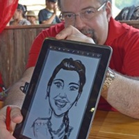 Caricaturas em tablet
