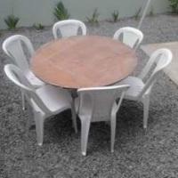 tampo de madeira para 6 cadeiras