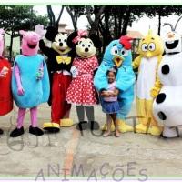 Peppa pig, George pig, Mickey, Minnie, Galinha pintadinha, Pintinho amarelinho, Olaf, Elza, Anna, Ho