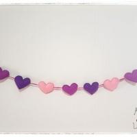 Varal de feltro com corações