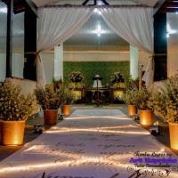 Casamento Rústico Paleta de Cores: Verde e Rosa Chá Cerimonial com tapete I Coríntios e arranjos d
