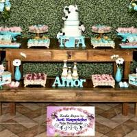 Casamento Rústico Paleta de Cores: Azul Tiffany, Rosa e Verde Decoração Rústica