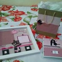 Agenda de Noiva e moldura de scrapbook casal