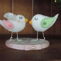 Topo de bolo passarinhos - em feltro