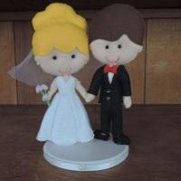 Topo de bolo casal fofinho - em feltro