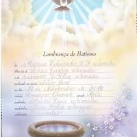 lembrança de batismo em bico de pena e tinta silver, letra cursiva inglesa