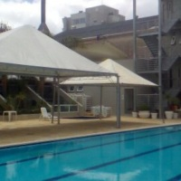 Tendas 10x05m e 05x05m montadas Clube Ipiranga Bento Gonçalves.