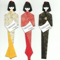 Marcador de páginas Boneca Japonesa, Gueixa em origami com ideogramas, kanji