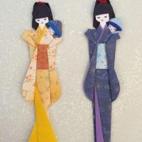 Marcador de páginas Boneca Japonesa, Gueixa em origami Mamãe