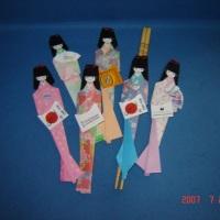 Marcador de páginas e porta-hashi Boneca Japonesa, Gueixa em origami - Brinde corporativo