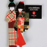 Ímã de geladeira Samurai/Gueixa em origami - Brinde corporativo