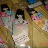 Marcador de páginas Gueixa em origami - Lembrancinha de nascimento de gêmeos