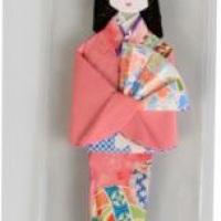 Marcador de páginas Boneca Japonesa, Gueixa em origami - Convite