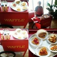 Carrinho de Waffle para festas, eventos, casamento, debutante. Com cobertura a sua escolha: chocolat