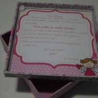 Caixa convite para madrinhas de batizado