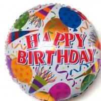 """Balões Metalizados Happy Birthday 18"""" com Gás Hélio."""