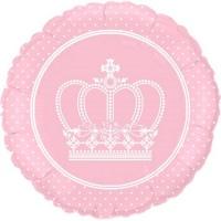 """Balão Metalizado de 18"""" Rosa Baby com impressão em Branco."""