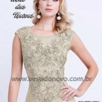 Vestido mae do noivo todo em renda na cor nude (11) 2235.0268