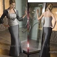 Vestido mae do noivo cinza e chumbo com casaco manga longa (11) 2235.0268