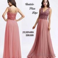 Vestido mae do noivo rose busto todo em renda e transparencia (11) 2235.0268