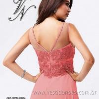 Vestido mae do noivo na cor rose bordada em renda e trasparencia (11) 2235.0268