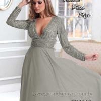 Vestido mãe do noivo tamanho grande bodas de prata com decote em v generoso (11) 235.0268