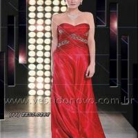 Vestido mãe do noivo vermelho em cetim importado CASA DO VESTIDO NOVO (11) 2235.0268