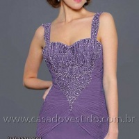 Vestido mãe do noivo na cor lilas, pedraria e brilho no busto (11) 2235.0268