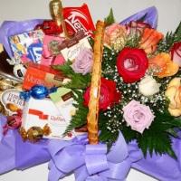 cesta chocolates com flores R$100,00