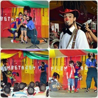 Show de Palhaços com números musicais, mágicas, malabares, balão mania, perna de pau, caricaturas ao