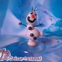 Topo de Bolo em biscuit do Olaf do filme Frozen.