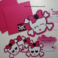 Convite Caveirinha - Festa Monster High