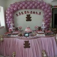 Festa dos ursos marrom e rosa