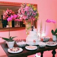 Mesa de bolo decoração de casamento