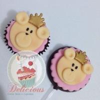 Pirulito de chocolate e mini-cupcake personalizado. (Fazemos qualquer tema! Personalize os doces da