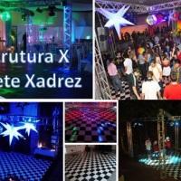 Estrutura Metálica formato boate pista de dança x, piso xadrez.