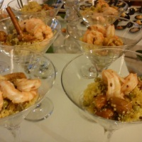Cuscuz Marroquino com camarões trufados.