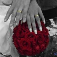 Efeito só alianças e bouquet colorido
