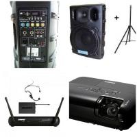 Caixa de som amplificada com leitor de pendrive e cartão de memória com pedestal / Microfone Headset