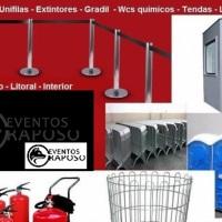 Extintores, banheiros quimicos e lixeiras