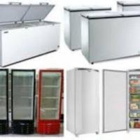 Freezers horizontais e verticais, geladeiras, fogões, geláguas.