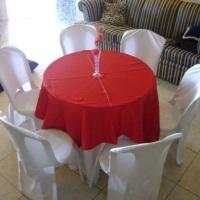mesa com 6 lg toalha,xale e capa p cadeira