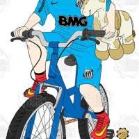 Caricatura de aniversário - Torcedor do Santos em sua bicicleta e um burrinho de pelúcia.
