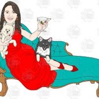 Caricatura de aniversário - homenageada com dry martini na mão, com seus dois cães e no divã.