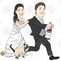 Caricatura de casamento - Noivo tentando fugir da noiva e do gato com garrafa de Campari.